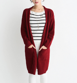 Womens Mid Length Cable Knit Cardigan