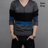 Mens V-Neck Color Block Knit Top