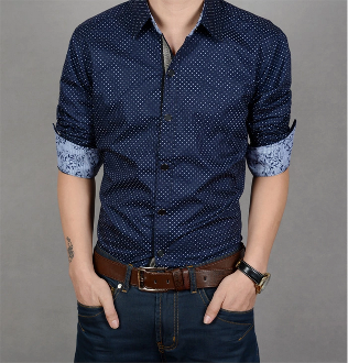 Mens Polka Dot Shirt with Floral Details