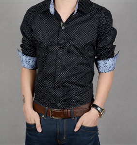 Mens Polka Dot Shirt with Floral Details - AmtifyDirect
