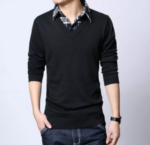 Mens Layered Knit Sweater