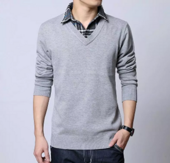 Mens Layered Knit Sweater - AmtifyDirect