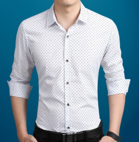 Mens white cotton Long Sleeve Shirt with Print Pattern - AmtifyDirect