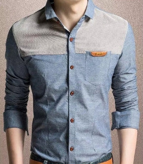 Mens Long Sleeve Denim Shirt - AmtifyDirect
