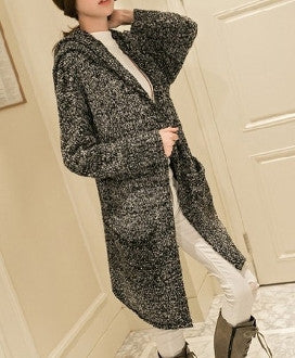 Womens Hooded Open Front Cardigan