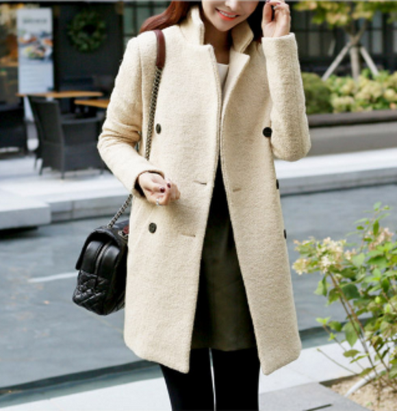 Womens Double Breasted Slim Fit Coat