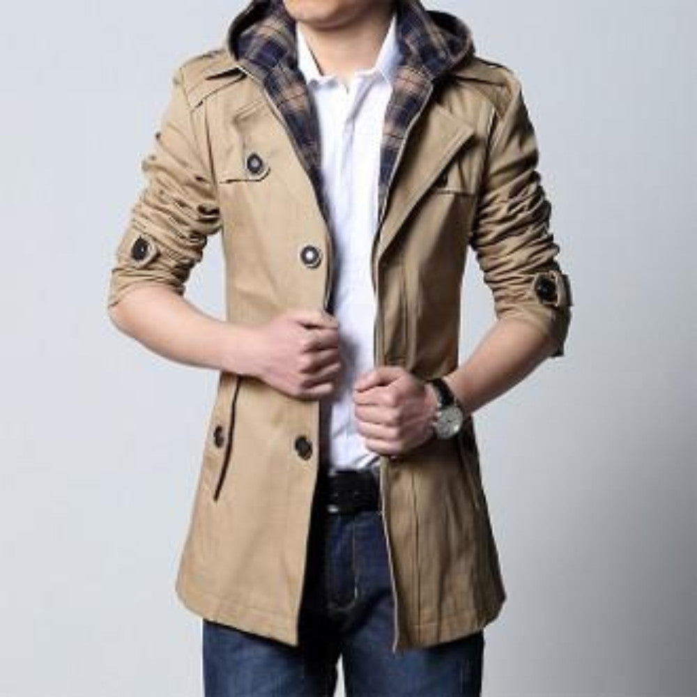 Mens Khaki Removable Hooded Trench Jacket