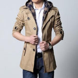 Classic Trench Jacket with Removable Hood - AmtifyDirect