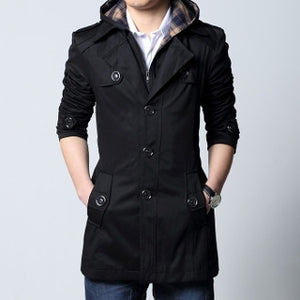 Mens Trench Jacket with Removable Hood
