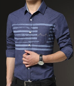 Mens Chest Stripe Button Down Shirt - AmtifyDirect