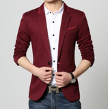 mens red polyester vegan friendly trendy slim fit one button blazer - AmtifyDirect