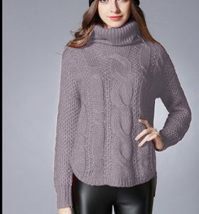 Womens Cable Knit Turtle Neck with Slit