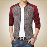 Mens Mixed Fabric Zipper Jacket