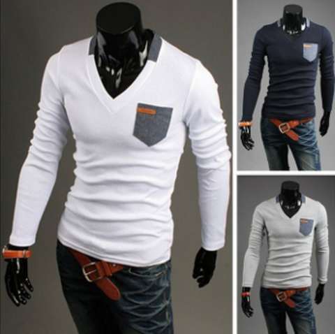 Mens Street Style V neck Long Sleeve Shirt