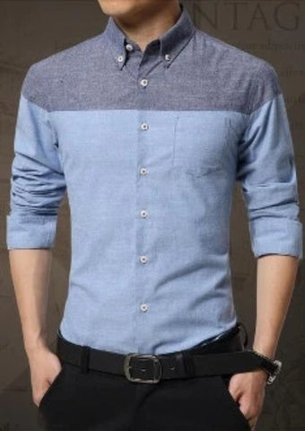 Mens Color Block Long Sleeve Shirt - AmtifyDirect
