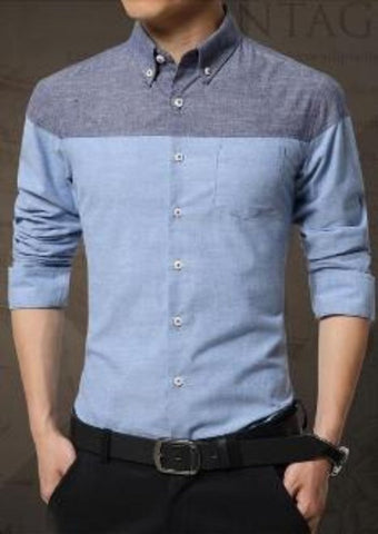 Mens Long Sleeve Color Block Casual Cotton Shirt