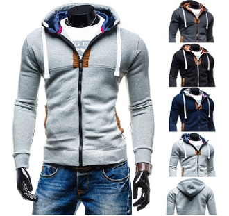 Mens Slim Fit Zipper Hoodie
