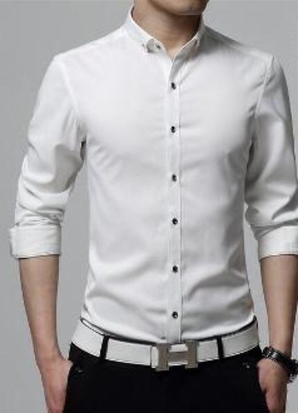 SALE Mens white cotton blend button down shirt - AmtifyDirect