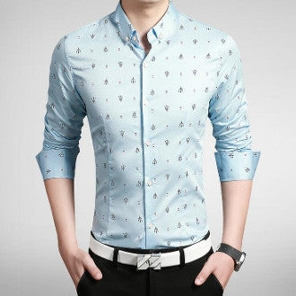 Mens Button Down Patterned Shirt - AmtifyDirect