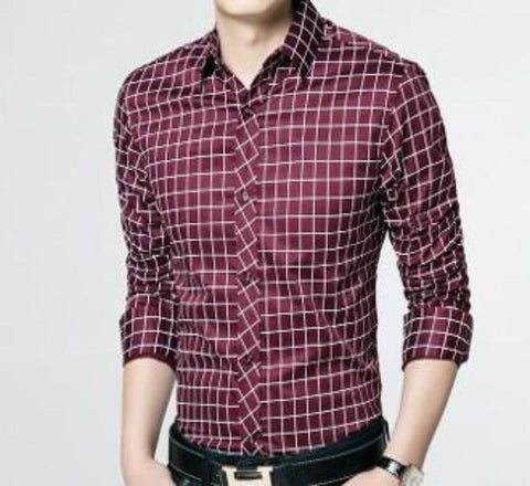 Mens Checkered Pattern Shirt - AmtifyDirect