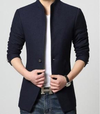 Men's Mandarin Collar Blazer