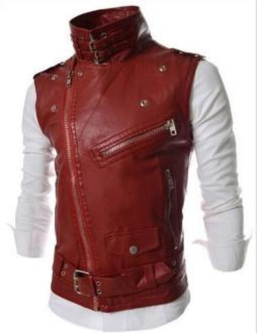 Mens Faux Leather Biker Vest - AmtifyDirect