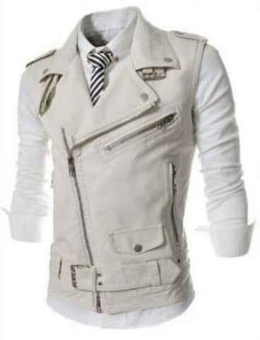 Mens Faux Leather Biker Vest