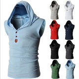 mens light blue cotton blend sleeveless hoodie - AmtifyDirect