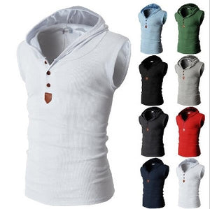 mens white cotton blend sleeveless hoodie - AmtifyDirect