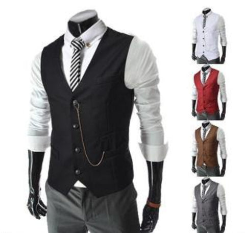 Men Slim Fit Vest with Chain - AmtifyDirect