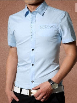 Mens Short Sleeve Shirt Polka Dot Details