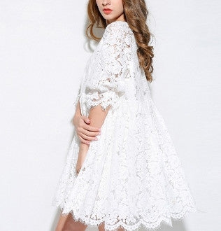 Womens Lace Frill Dress