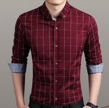 Mens Red Cotton Blend Long Sleeve Checked Shirt - AmtifyDirect