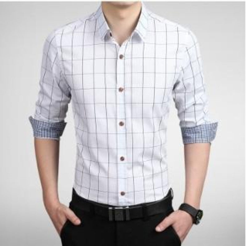 Men Long Sleeve Checkered Shirt