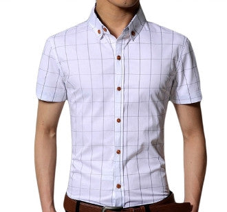 Men Short Sleeve Checkered Shirt