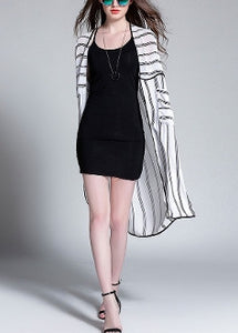Striped Open Front Long Duster