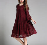 Womens Long Sleeve Lace Dress
