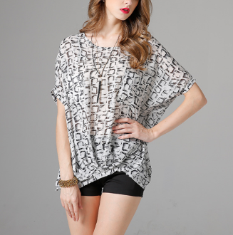 Womens Batwing Top with Prints