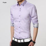 mens purple polyester vegan friendly button down shirt with contrasting print cuffs - AmtifyDirect