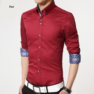 mens red polyester vegan friendly button down shirt with contrasting print cuffs - AmtifyDirect