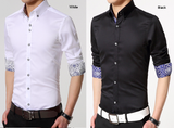 mens polyester vegan friendly button down shirt with contrasting print cuffs - AmtifyDirect