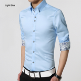mens light blue polyester vegan friendly button down shirt with contrasting print cuffs - AmtifyDirect