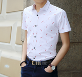 Mens Short Sleeve Shirt with Feather Print
