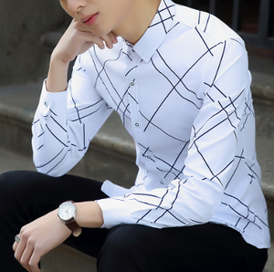 Mens white polyester slim fit Graphic Design  Shirt - AmtifyDirect