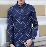 Mens navy polyester slim fit Graphic Design  Shirt - AmtifyDirect