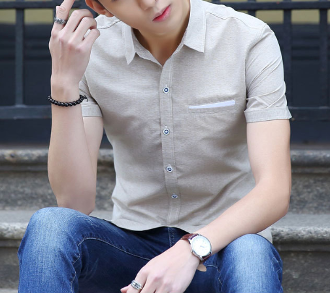 Mens Short Sleeve Shirt With Pocket Details