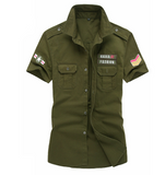 Mens Short Sleeved Shirt with Military Insignia's