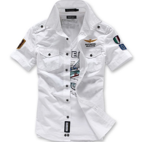 Mens Dual Pocket Military Style Short Sleeve Shirt - AmtifyDirect