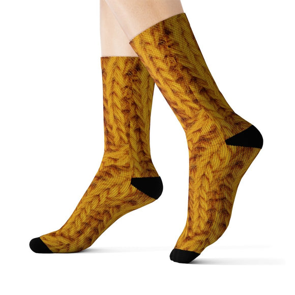 Mustard Print Wool Fun Novelty Socks