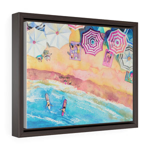 Colorful Day at the Beach Horizontal Framed Premium Gallery Wrap Canvas